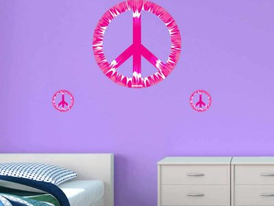 peace sign wall graphics room decor tie dye pink