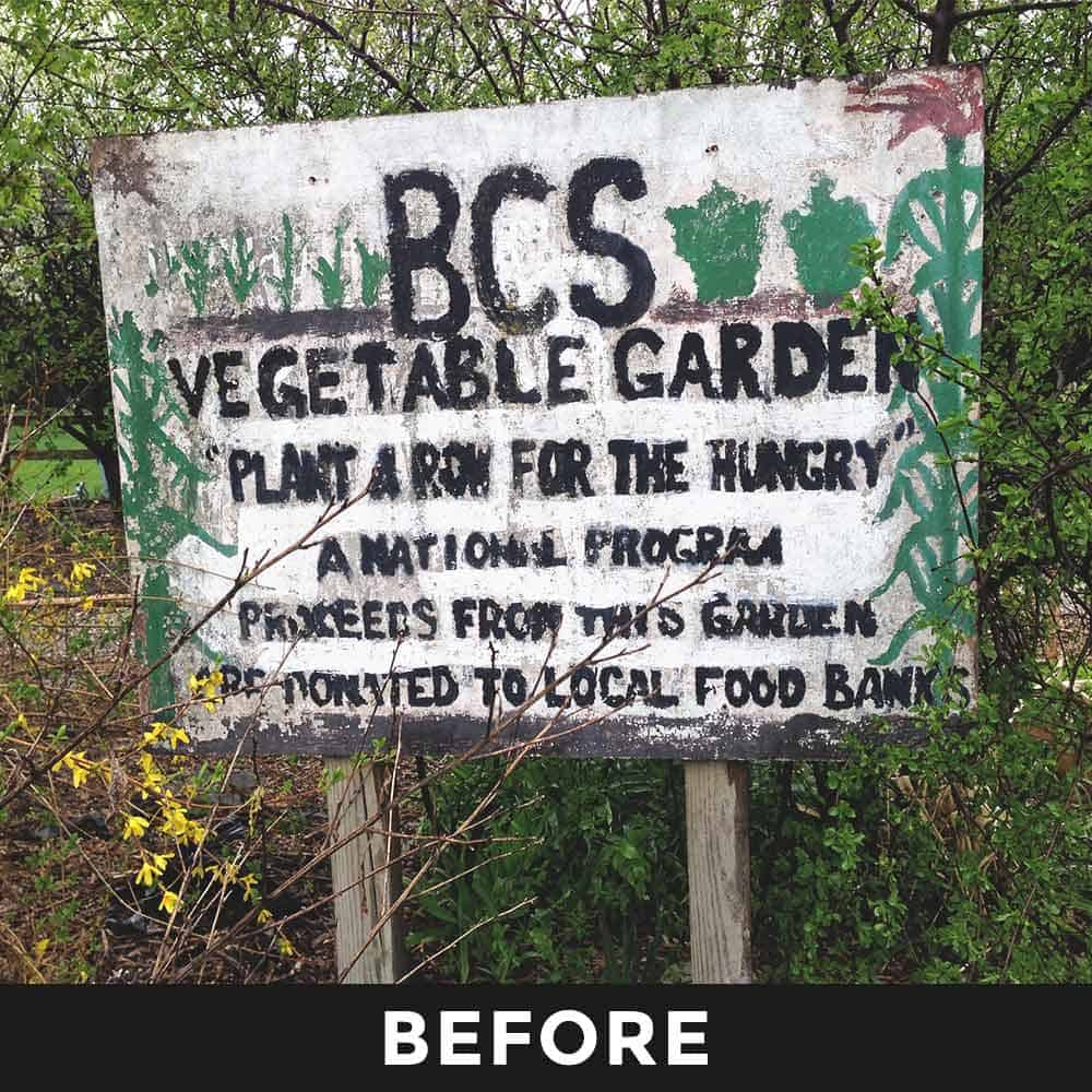 School Sign For Garden Before Makeover