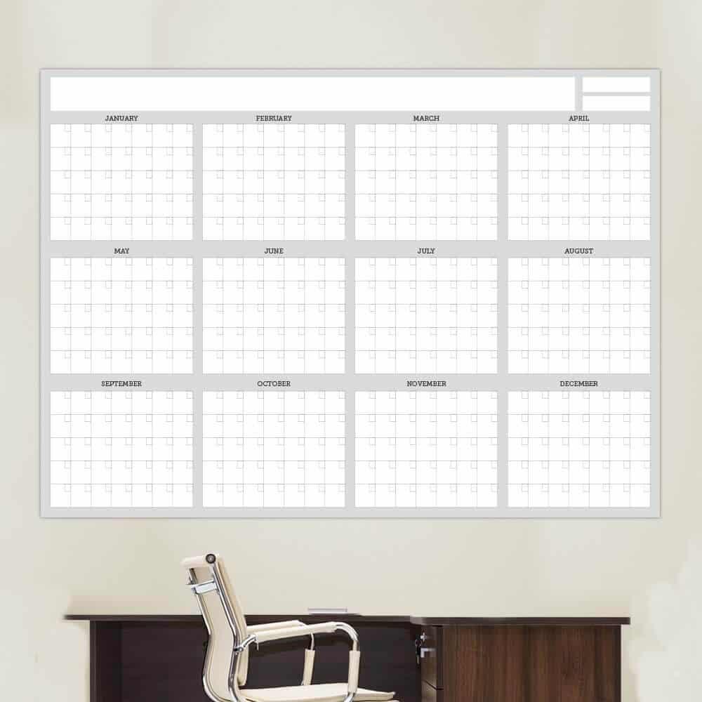 Full 12 Month Dry Erase White Calendar