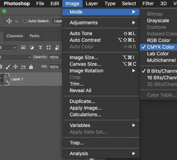 Choosing CMYK Color Mode in Photoshop