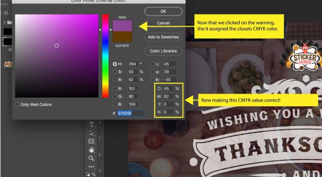 Colors in CMYK mode