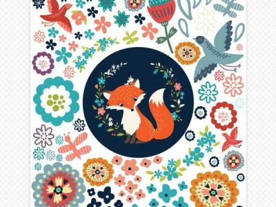 Foxes & Flowers Room Wall Stickers