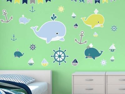 Wall Stickers of Nautical Whales