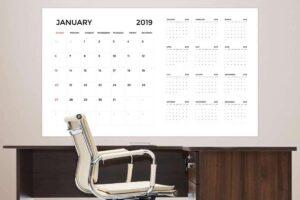 Custom Dry Erase Calendar On Wall