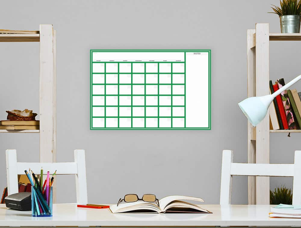Two Color Dry Erase School Organizer On Wall